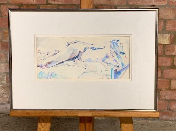 """Rare Joy Trpkovic """"Nude"""" Pastel Painting"""