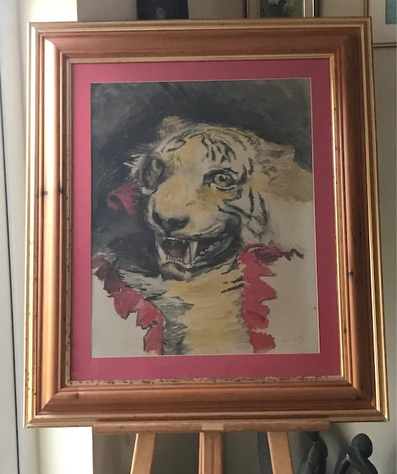 Superb Original Watercolour Of A Tiger By The Renowned Artist George Cochrane Kerr dated 1904