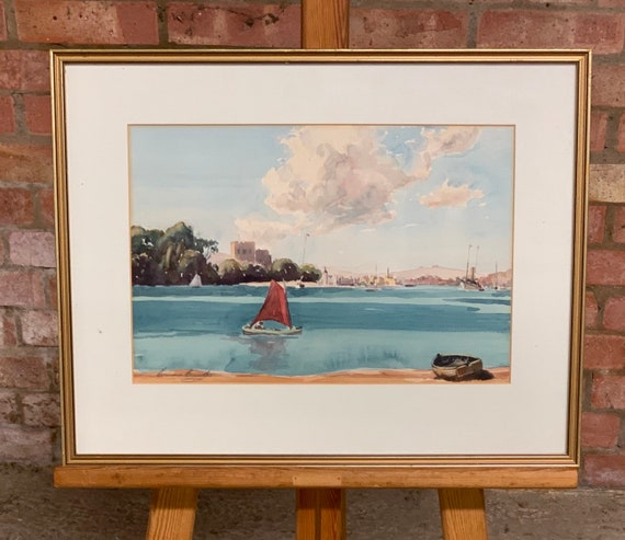 Wonderful Watercolour Of Poole Harbour By Norman Howard (1899-1955)
