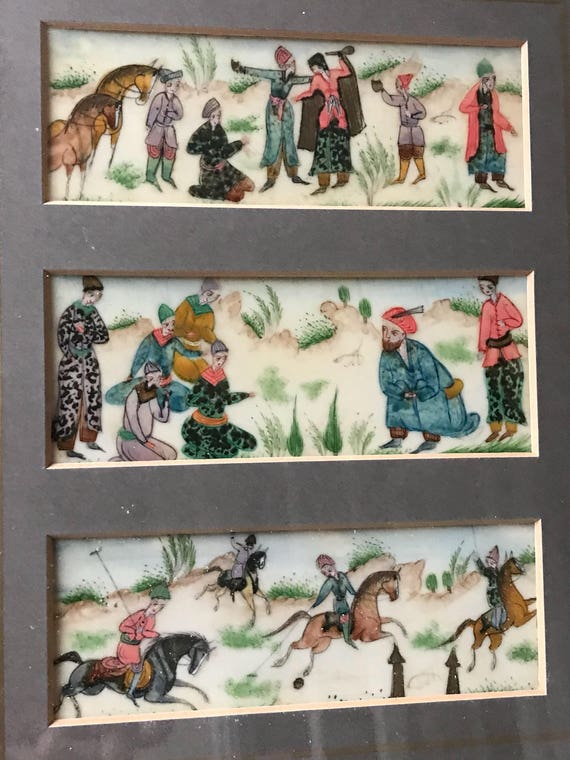 19th Century Chinese Hand Painted Framed Cream Panels