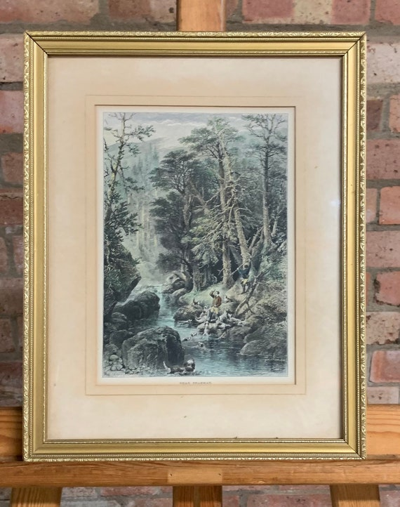 Antique 19th Century Hand Coloured Engraving By Edward Whymper Titled 'near Braemar' after the painting by Perceval Skelton