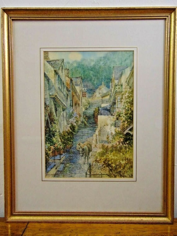 Beautiful Original Watercolour of Clovelly by the Prolific West Country Artist,  Walter Henry Sweet