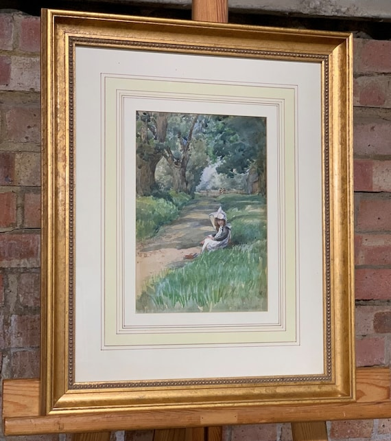 Beautiful 19th Century Watercolour by Tom Simpson Depicting a Young Girl Sitting on the Grass with Her Book