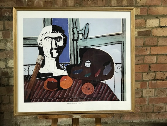 Large Pablo Picasso Framed 1994 Print Titled Bust And Palette 1925