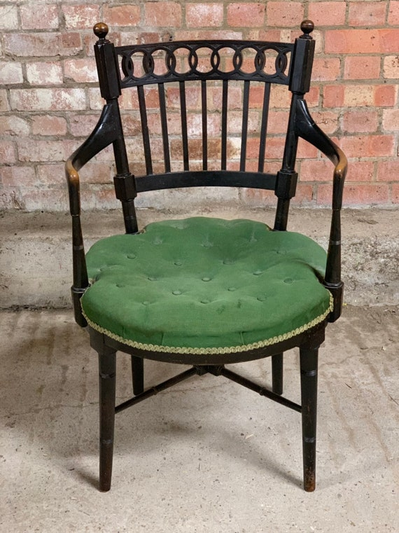 Lovely 1900's William Birch Ebonised Chair with circular green upholstered seat pad
