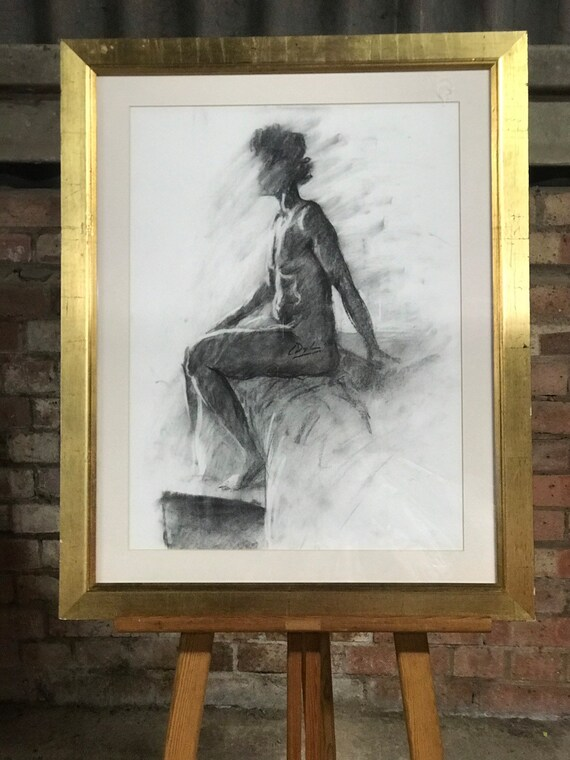 Gilt Framed Charcoal Sketch Of A Seated Nude Lady By L Dylan