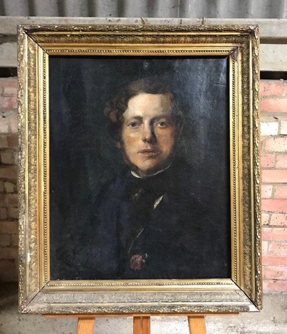 Large Original Georgian Portrait Oil On Canvas - Portrait Of A Gentleman In Gilt Frame