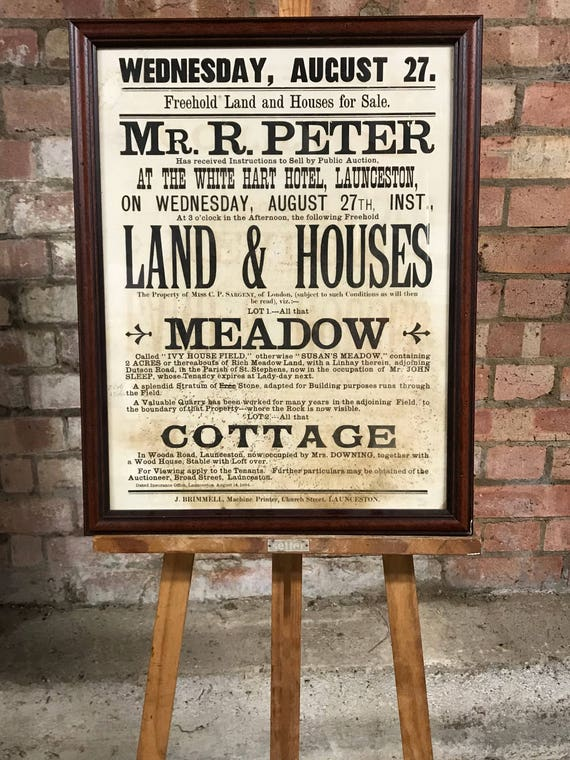 Framed Antique Advertising Freehold Land & Houses for Sale Launceston Cornwall Poster