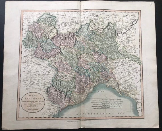 Rare John Cary Map 1799 - New Map Of Piedmond, The Duchies Of Savoy & Milan and the Republic of Genoa, with their subdivisions dated 1799