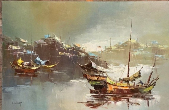 This is a large piece of original artwork !! A Stunning Oil On Canvas By W S Chiang - Depicting Chinese Junk Boats on the River