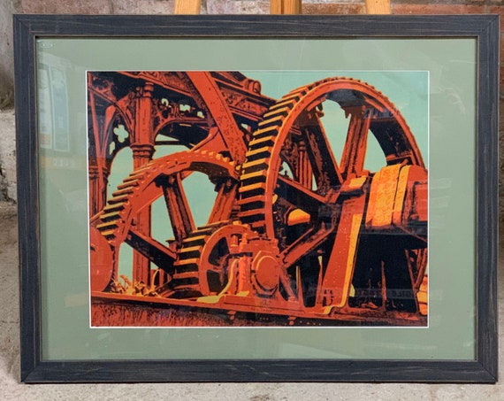 Large Framed and Glazed Suicide Print - From the series of 'Structures' by John McCaskill and depicts Sugarcane Processing Gears, dated 2016
