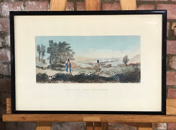 Rare Coloured 19th Century Engraving 'Morning, First September' Depicting Gameshooters on a Partridge Shoot, start of the Partridge Season