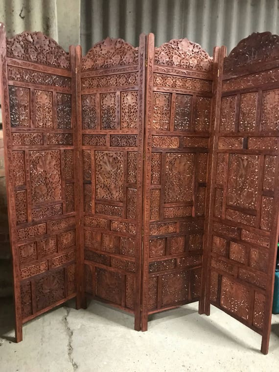Fabulous Very Decorative & Beautifully Carved Wooden 3 Fold, 4 Panel Screen / Room Divider
