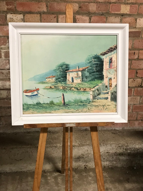 Beautiful Vintage Oil Painting On Canvas Of A French Or Italian Lake Scene