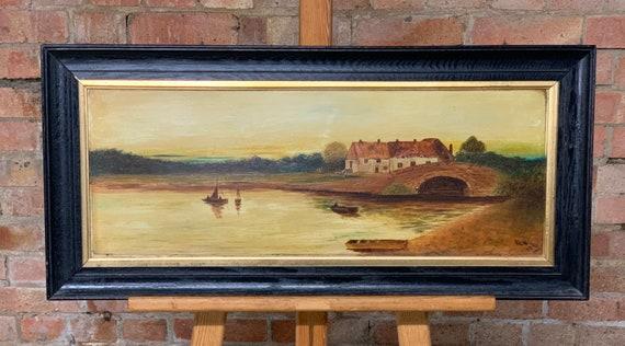 Original Oil On Board By Ann E Williamson Dated 1916 - Depicts A River Scene