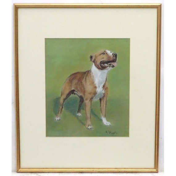 Fabulous Original Pastel Drawing of a Staffordshire Bull Terrier by the Artist Arthur Wardle