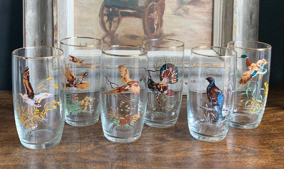 Beautiful Set Of Six Vintage Hand Painted Tumbler Glasses Depicting Game Birds