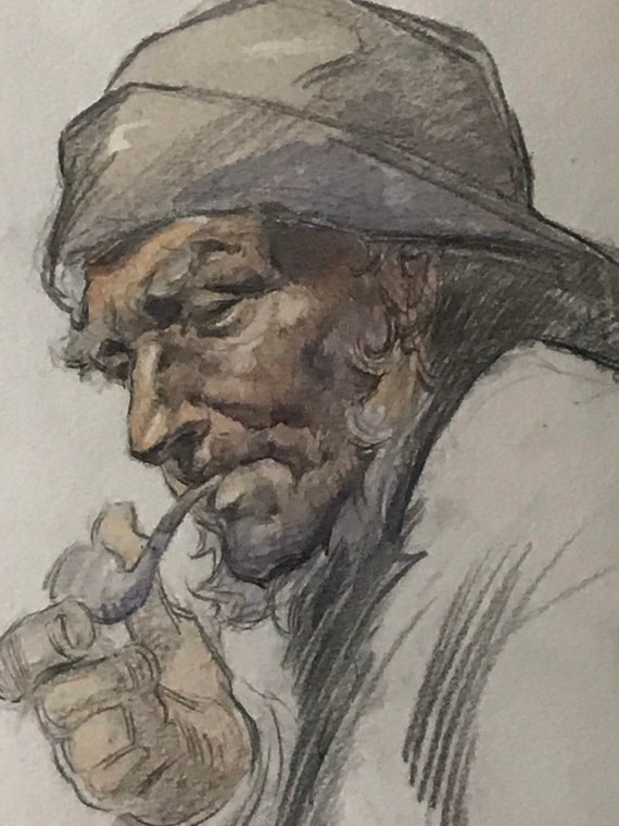 Original 19th Century Watercolour Circa 1840's of A Fisherman With A Pipe - So Much Character in his Face!
