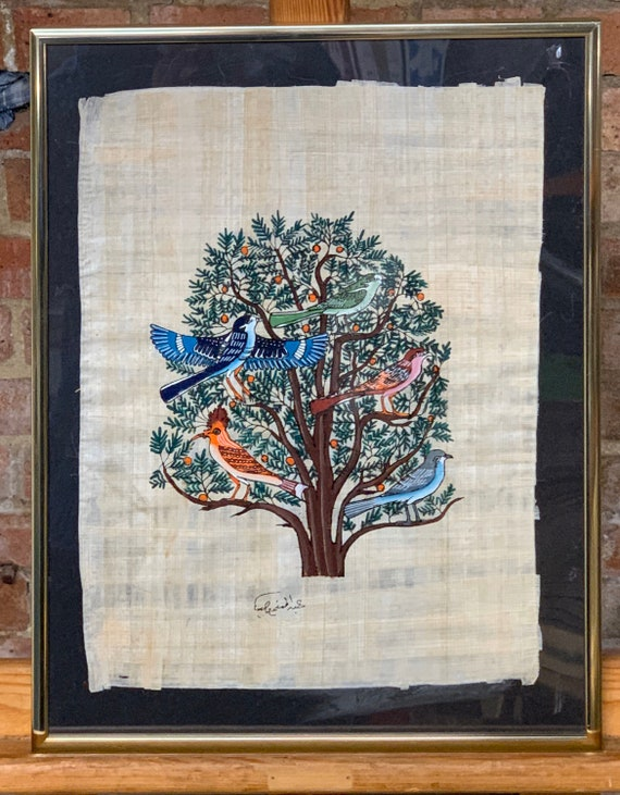 Beautiful Framed And Glazed Tree Of Life Painting On Egyptian Papyrus