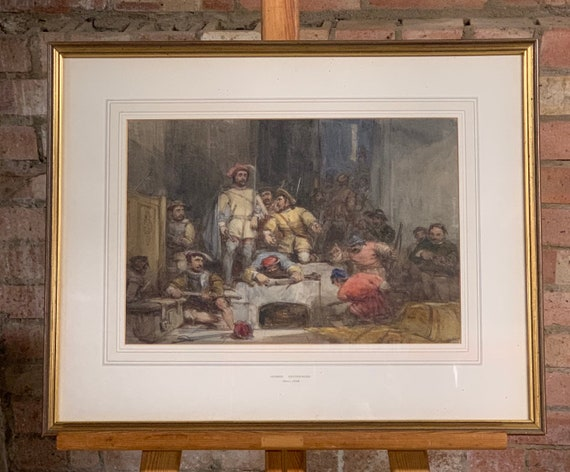 Fabulous Original Watercolour by the Renowned Artist George Cattermole Depicting Charles 1st Civil War Soldiers