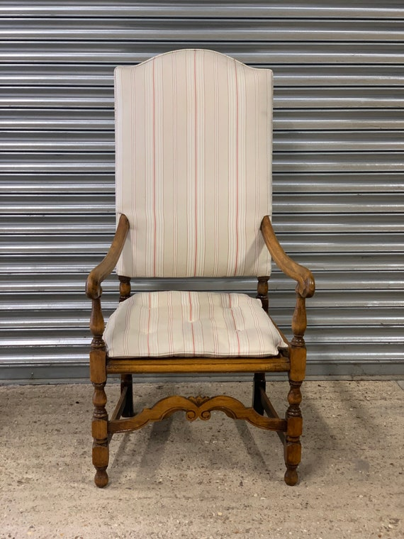 Beautiful 19th Century Oak Armchair With Later Added Upholstery