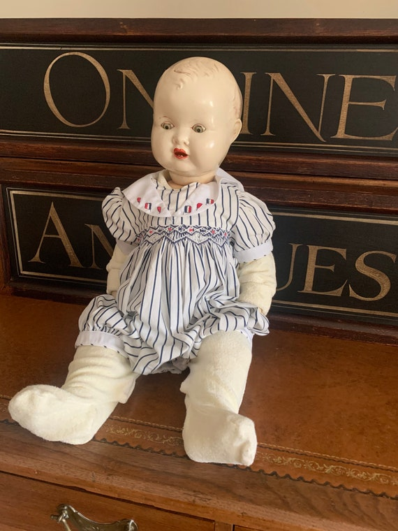 Wonderful Well Cared For Rare Large British Made Circa 1930's Doll With Sleeping Eyes And Teeth