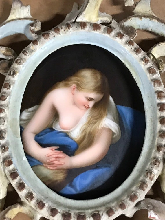 19th Century Miniature Painting on Porcelain of Magdalene after Batoni, with an Ornate Frame