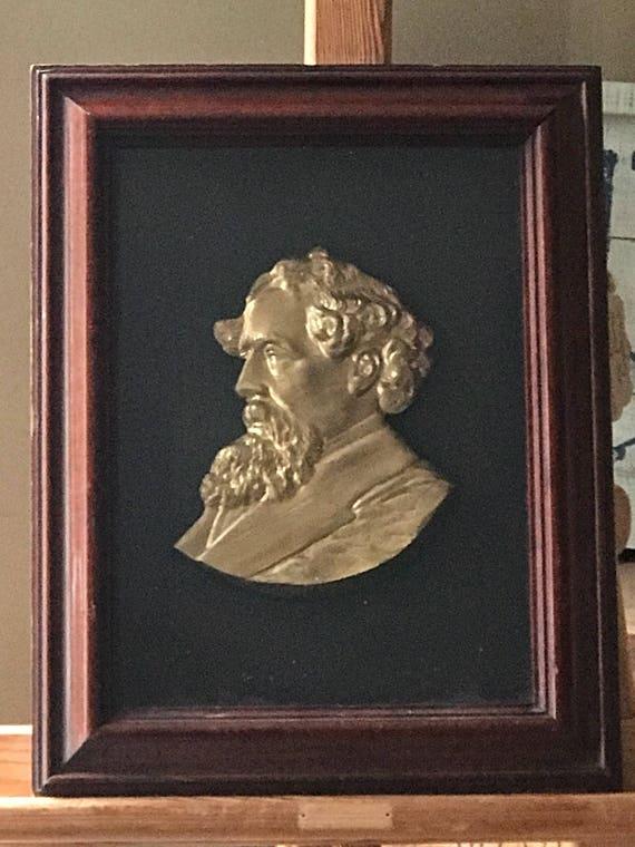 19th Century Framed Gilt Head Bust of Charles Dickens