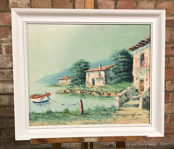 Beautiful Vintage Oil Painting On Canvas Of A French Or Italian Lake Scene signed Rojo