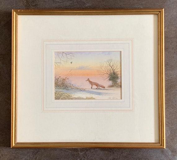 Beautiful Watercolour Of A Fox In A Wintery Landscape By the Suffolk Artist, Peter Hayman