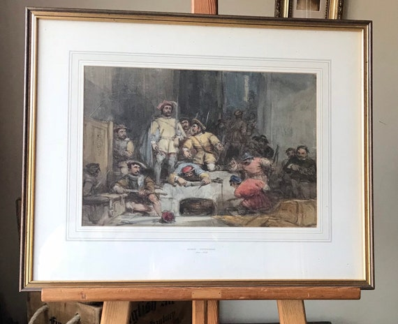 Fabulous George Cattermole Watercolour Painting Charles 1st Civil War Soldiers