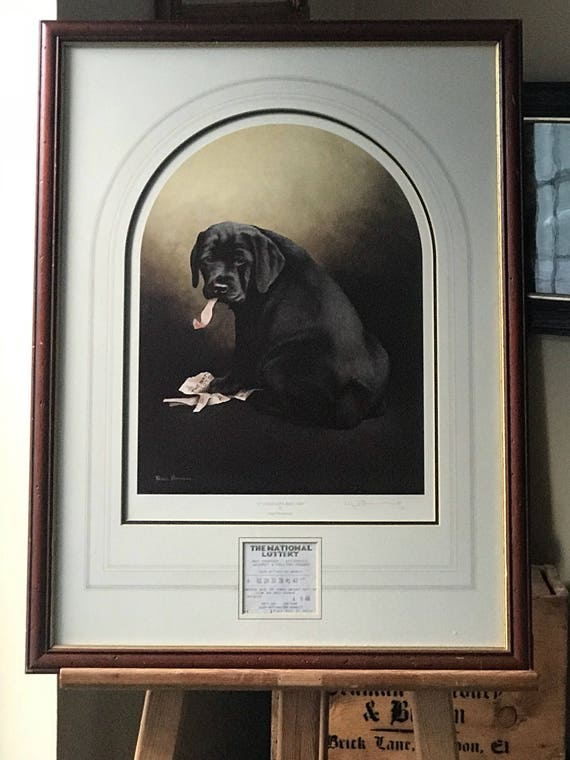 Fabulous Nigel Hemming Lithograph Titled 'It Could Have Been You' depicting a Black Labrador Pup Chewing up a Lottery Ticket