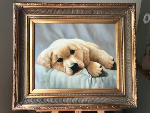 Large Beautiful Gilt Framed Original Art Work Of A Golden Labrador Puppy By Johnny Gaston