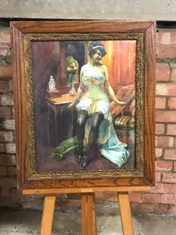 Wonderful Antique Art Nouveau Period Watercolour of a Burlesque Type Female Dancer or Performer