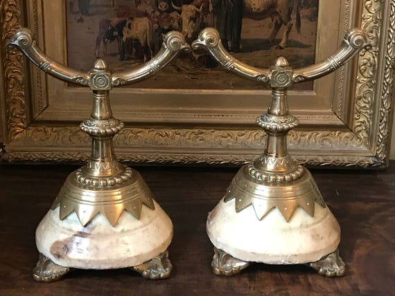 Rare Pair of 19thC Bronze And Marble Fire Dogs Designed By Christopher Dresser From The John Scott Collection