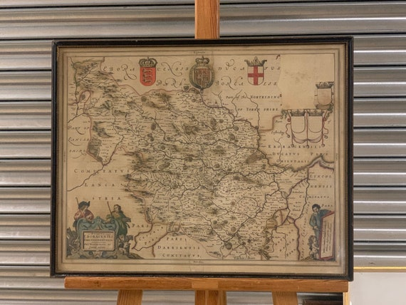 Antique Willem Janszoon Blaeu Hand Coloured Map Of Yorkshire Dated 1658
