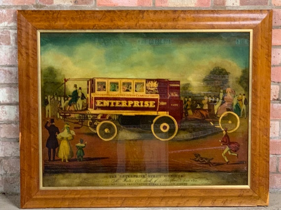 Superb Framed Reverse Glass Study Of 'The Enterprise', Steam Omnibus