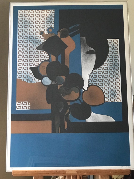 A Framed Abstract Limited Edition Lithograph By Andre Minause