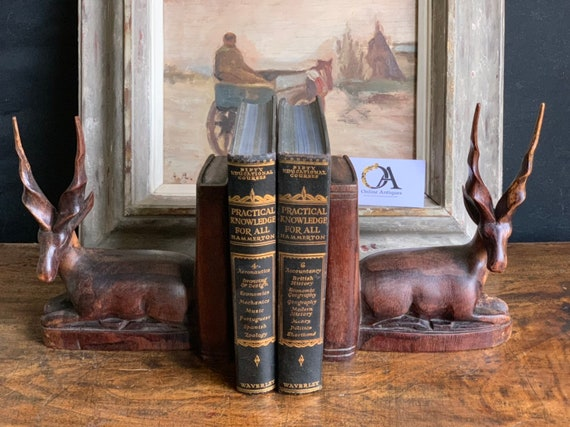 Beautiful Pair of African Impala Antelope Hardwood Bookends