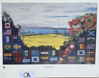 The World Cup of Golf 1987 Limited Edition 84/100 Print #Kapalua, Bay Course, Hawaii, from the J Fitzpatrick Collection.