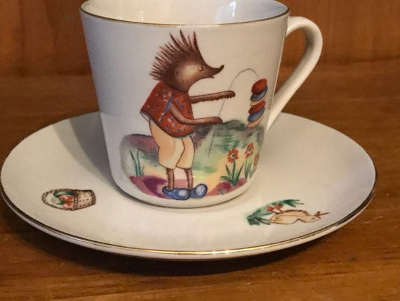 Vintage Polish Pruszkow Child's Fairytale Hedgehog Teacup & Saucer