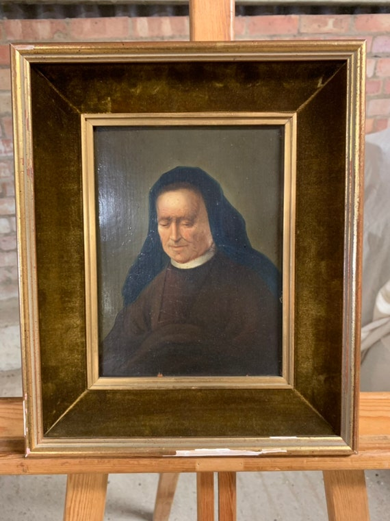 19th Century Oil On Board Portrait Of A Nun - Unsigned