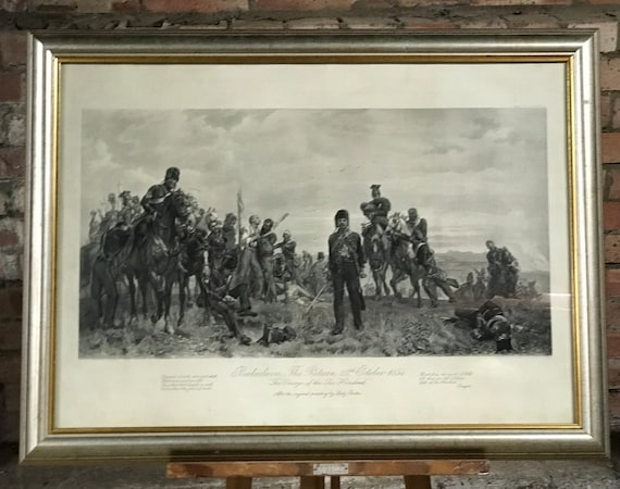Fabulous Framed & Glazed Antique Photogravure after the famous painting by Lady Butler titled 'Balaclava, The Return 25th October 1854'