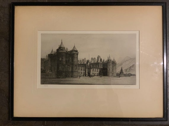 Superb Original Etching Signed By JSC Simpson Of Holyrood Palace Edinburgh