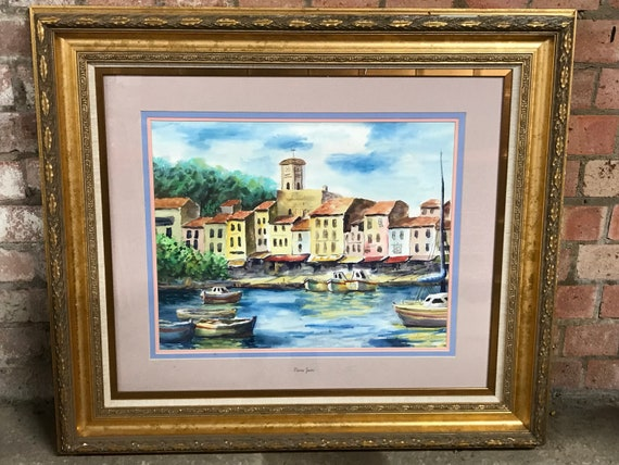 Wonderful Large Original Pierre Jean Watercolour In A Decorative Gilt FrameDepicts boats in a harbour with its label of authenticity on the