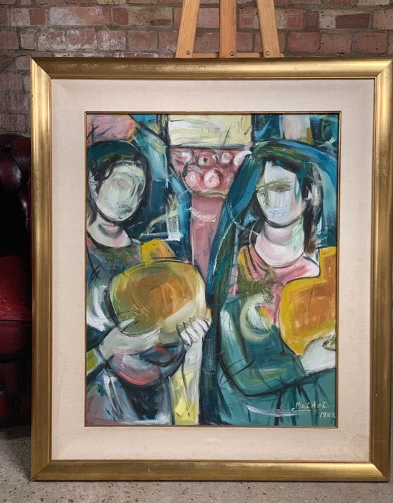 Large Original Abstract Figural Oil Painting Signed Machoi bottom right and dated 1989
