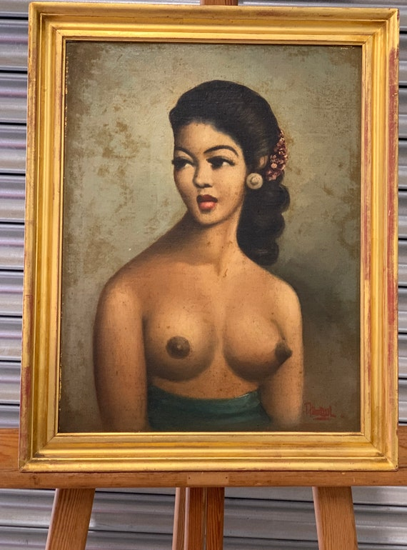 Original Circa 1950's Oil On Canvas Nude Portrait Of A Ladt Signed Abdul