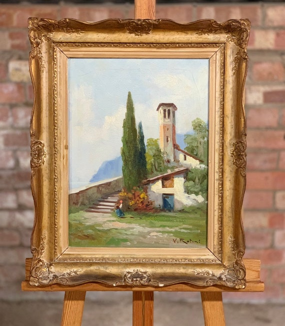 Fabulous Original Oil Painting Of Santa Chiara Lago Iseo Italy By V Rotini