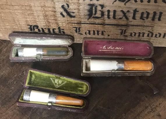Three Antique Silver Hall Marked Amber Stemmed Cheroot Cigarette Holder