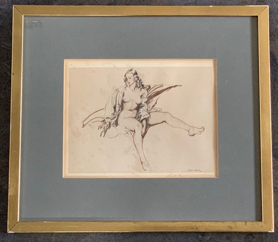 Wonderful Rare Signed Sir William Russell Monochromatic Lithograph Print on Woven type paper